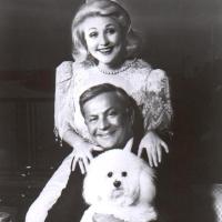 Bob Bradford and Barbara Taylor Bradford with their first dog, Gemmy