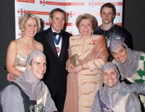 Barbara Taylor Bradford and Jim Dale share a laugh with the knights from the Broadway cast of Monty Python's Spamalot