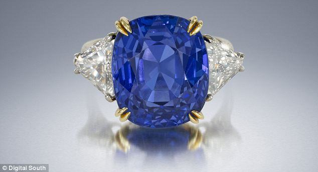 Cushion-shape sapphire ring, weighing 18.37 carats. Estimated worth: £98,000-£131,000
