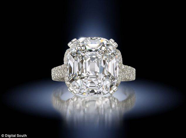 Cushion-shaped 14.07 carat single-stone diamond. Estimated worth £330,000-£460,000