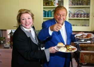 Bob Bradford and Barbara Taylor Bradford enjoy a Texas style BBQ at the Lupton Ranch in Dallas, Texas