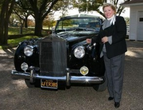 British Royalty x 2: Barbara Taylor Bradford poses with a classic Rolls Royce in the driveway of the Lupton Ranch in Dallas, Texas