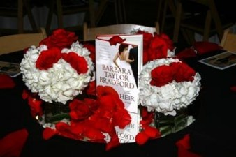 Centerpiece for the tables inside the Women's Museum featuring Barbara Taylor Bradford's book, The Heir