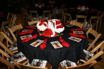 Tables set beautifully for the champagne and tea reception honoring Barbara Taylor Bradford at the Dallas Women's Museum