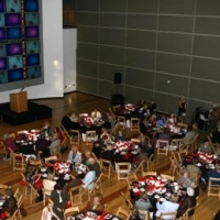 An overhead shot of the crowd at the Barbara Taylor Bradford gala inside the Dallas Women's Museum on November 13th, 2007