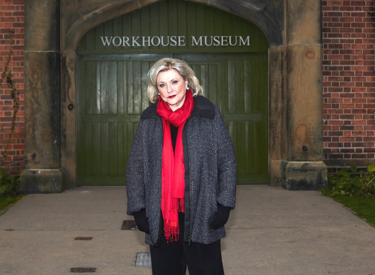 Barbara filming ITV's 'Secrets from the Workouse' (pic credit ITV)
