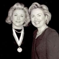 Barbara Taylor Bradford with former US First Lady, Hilary Clinton