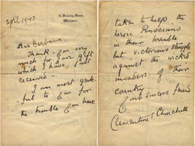 Clemetine Churchill Letter