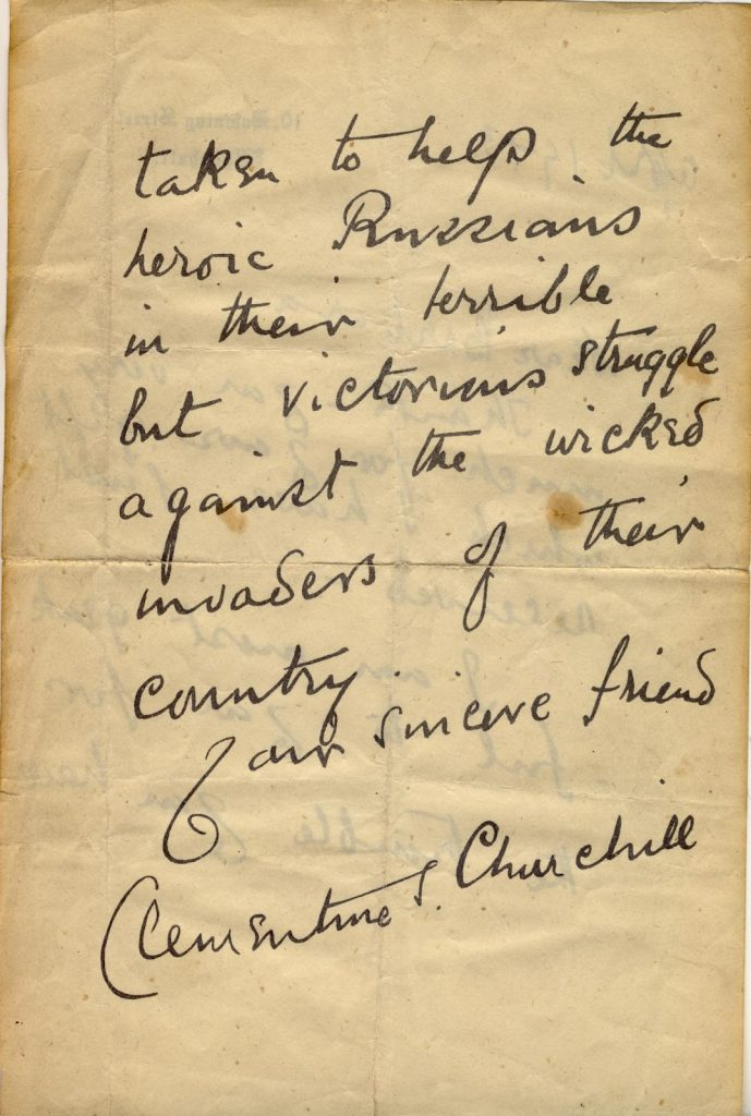 Clemetine Churchill Letter - Page 2